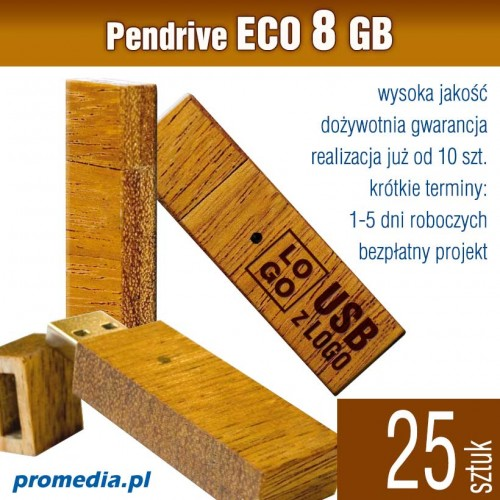Pendrive Goodram ECO 8 GB z grawerem - komplet 25 szt.